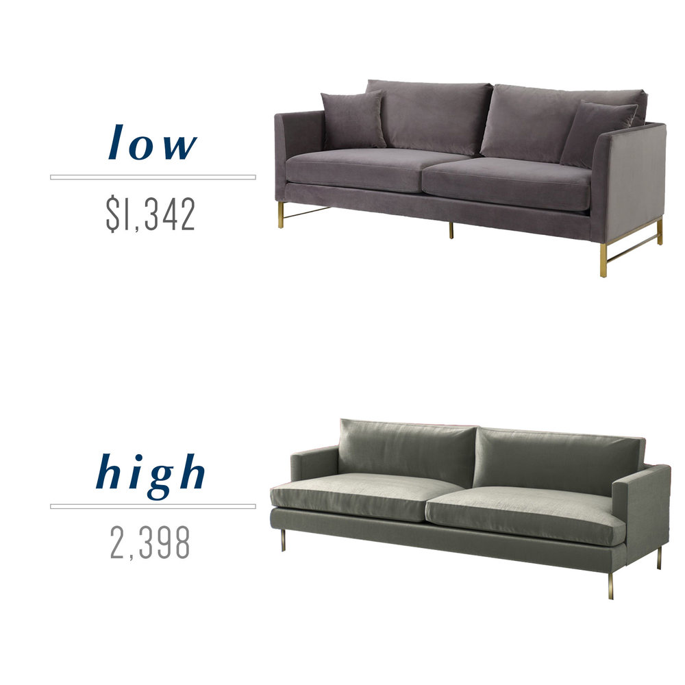 Get the look for less or decide to splurge! Come see the budget-friendly and spend-worthy pieces of furniture in this blog post including the high/low sources for these modern velvet sofas with brass legs.