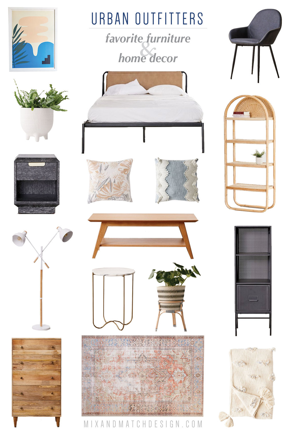 Urban Outfitters is one of my favorite places to shop for quirky, mid-century, and eclectic furniture and home decor, and I've rounded up a bunch of my favorites for your home to share with you! // #designerfinds #interiordesign #decor #eclecticdecor #globaldecor #decorating