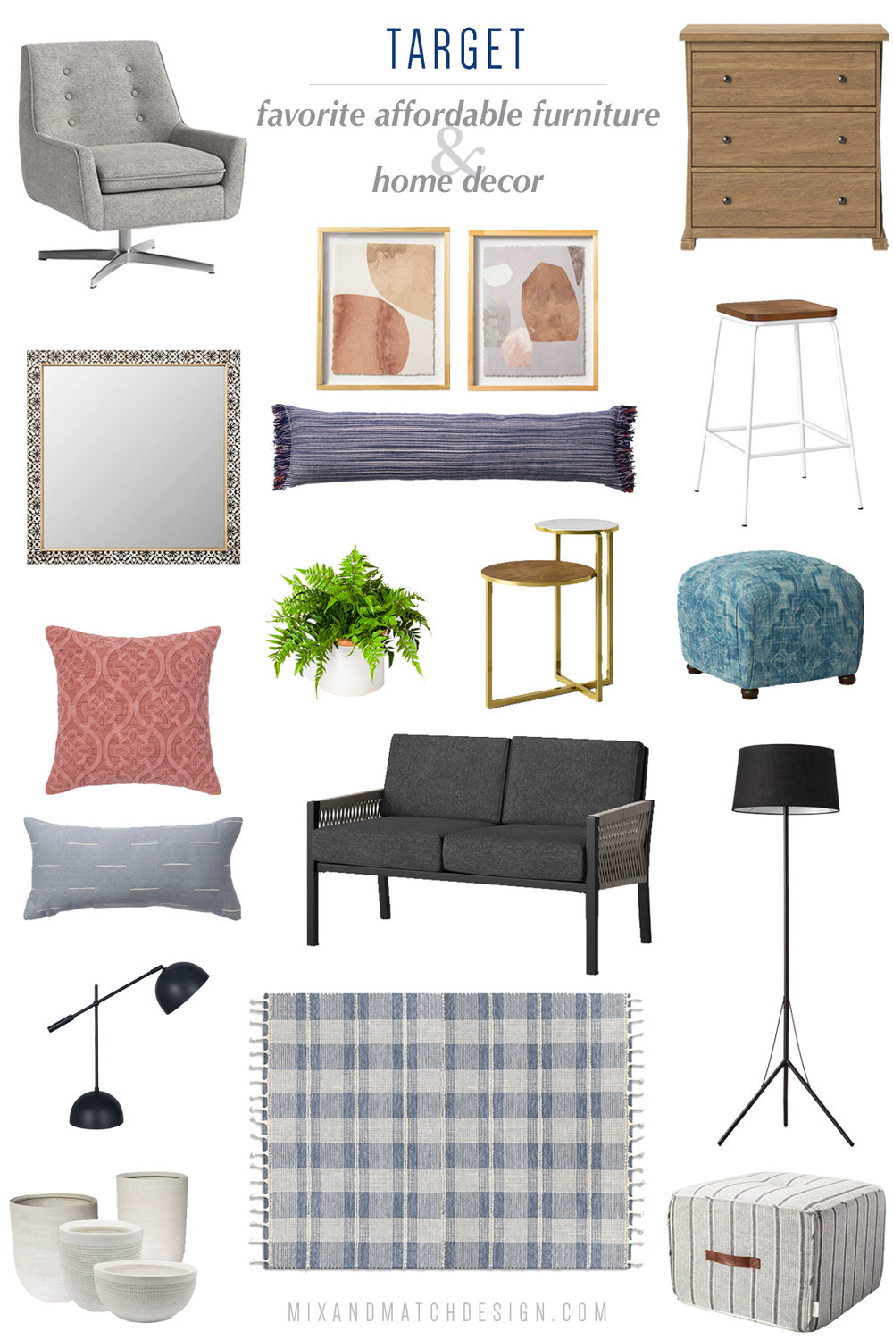 """Looking for affordable furniture and home decor? Target is a great place to shop! Their """"house brands"""" like Project 62, Threshold, Opalhouse, and Hearth & Hand are fabulous resources for modern, farmhouse, and boho decorating styles. Click the image to take a look and get all the sources!"""