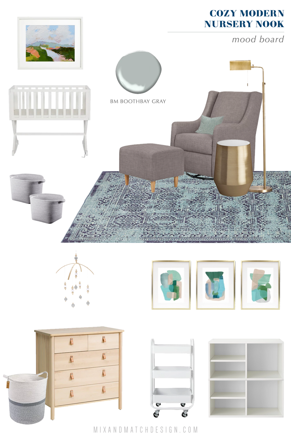 "Mood Board for a Scandinavian modern nursery. Come on over to the Mix & Match Design Company blog for this cozy modern nursery nook reveal! This space is shared with a home office and is full of great ideas on how to squeeze in a small nursery into a closet. The ""nursery nook"" concept is perfect if you live in a smaller home."