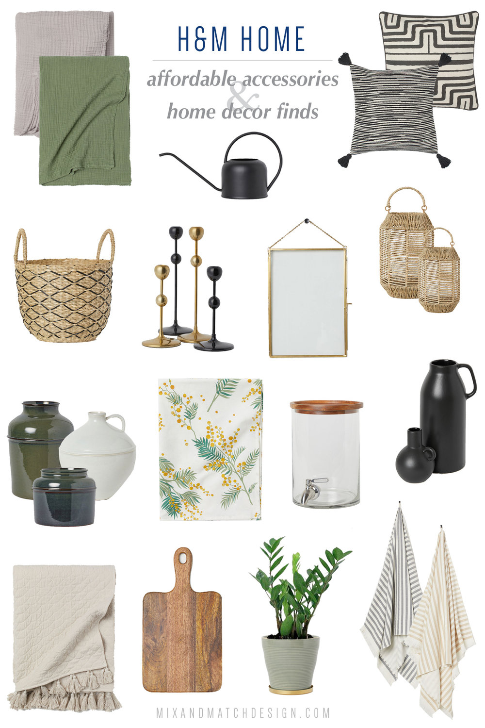 Looking for affordable home decor? H&M Home is a great place to shop! If your style falls into modern, eclectic, or bohemian, you'll be sure to find lots of great decor and accessories for your space. Click the image to go to the Mix & Match blog to get all the sources!