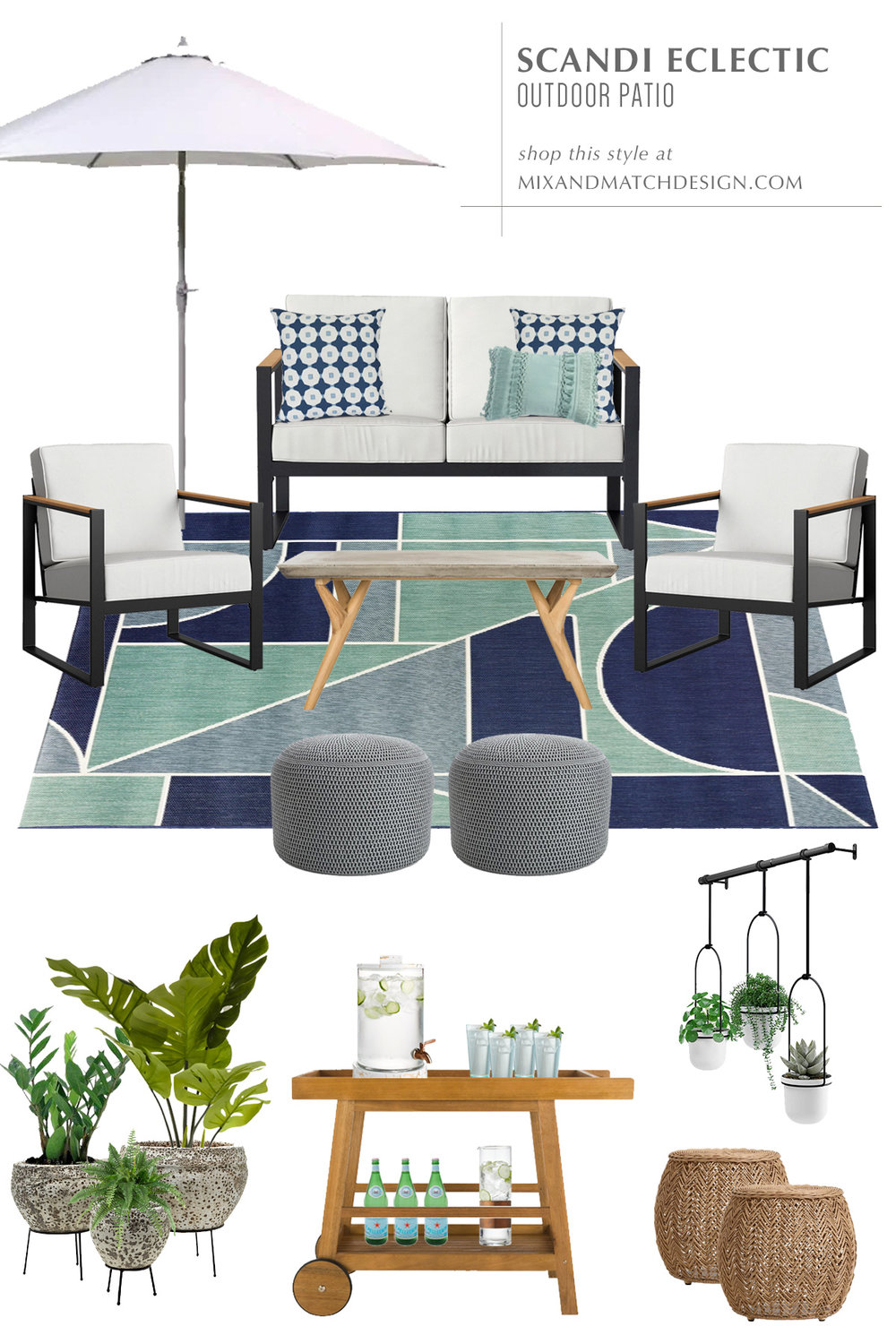 Head over to this post for inspiration on how to design an outdoor space. I've got three patio looks in three different styles for under $3,000 to share with you! This one is the Scandinavian Eclectic outdoor patio design.
