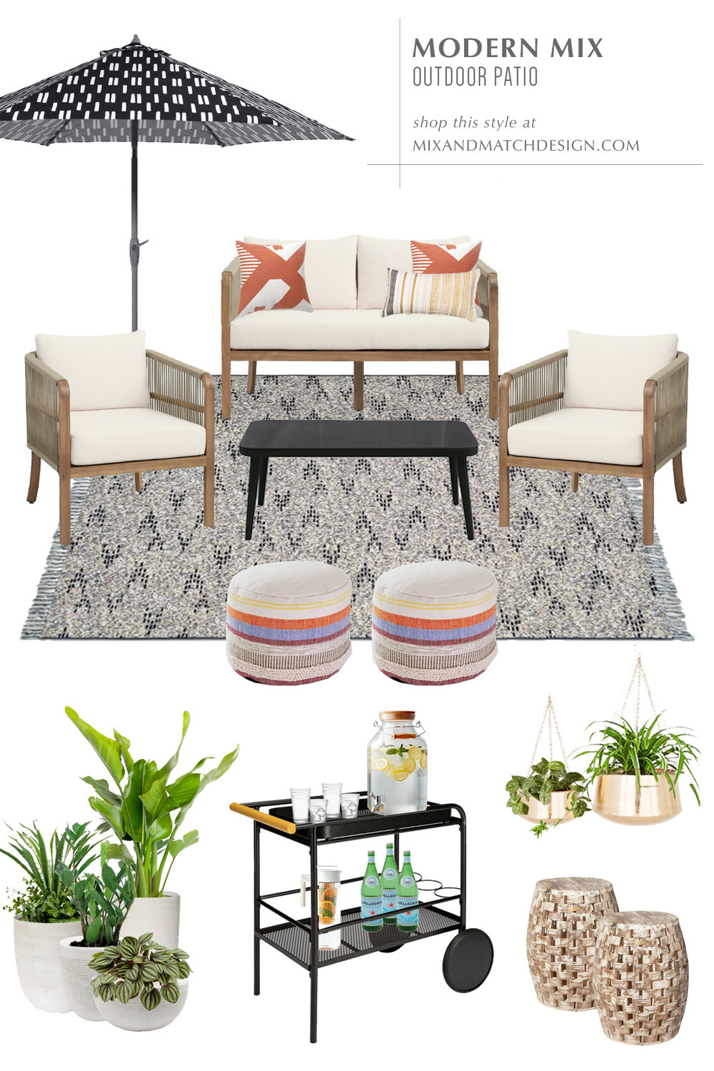 Head over to this post for inspiration on how to design an outdoor space. I've got three patio looks in three different styles for under $3,000 to share with you! This one is the Modern Mix outdoor patio design.