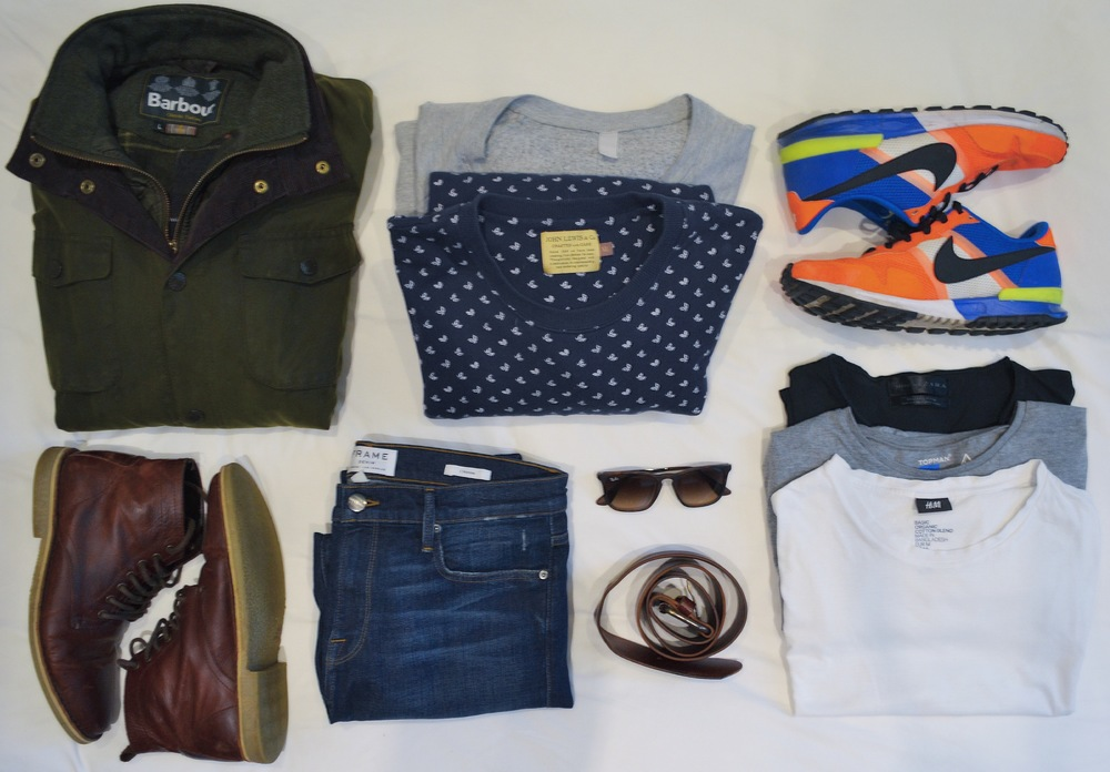 Barbour Jacket, American Apparel Sweater (grey), John Lewis sweater (blue), Nike IDs, ASOS boots, Frame Denim jeans, Ray Ban shades, Zara belt, Zara, Topman & H&M tees