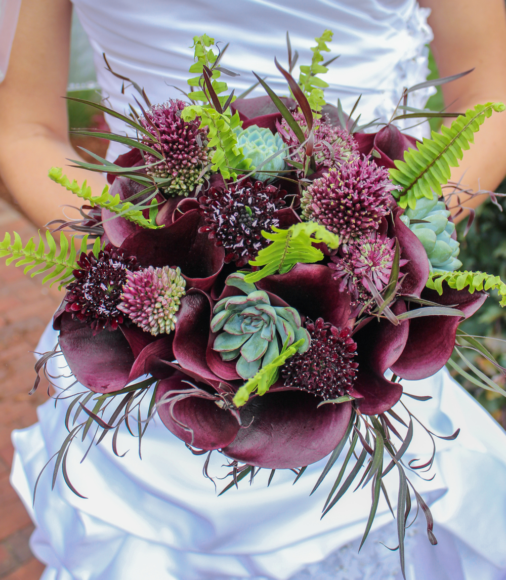 Purple Calla, Succulent, Scabiosa, Fern Bridal Bouquet by Pebble and Branch Floral