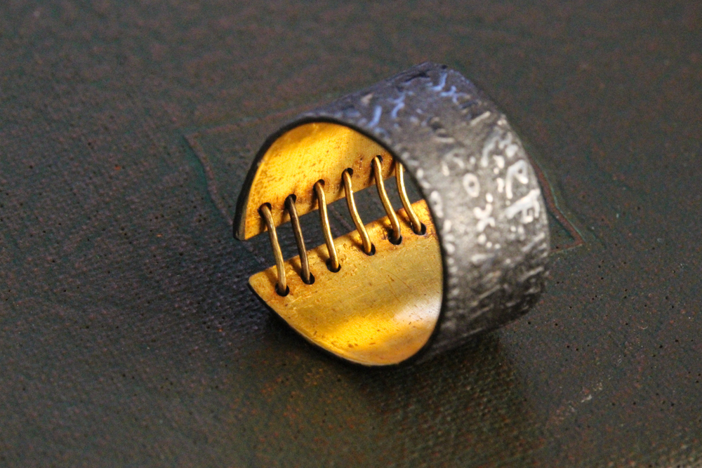 24k Gold and Sterling Stitched Ring by Celie Fago