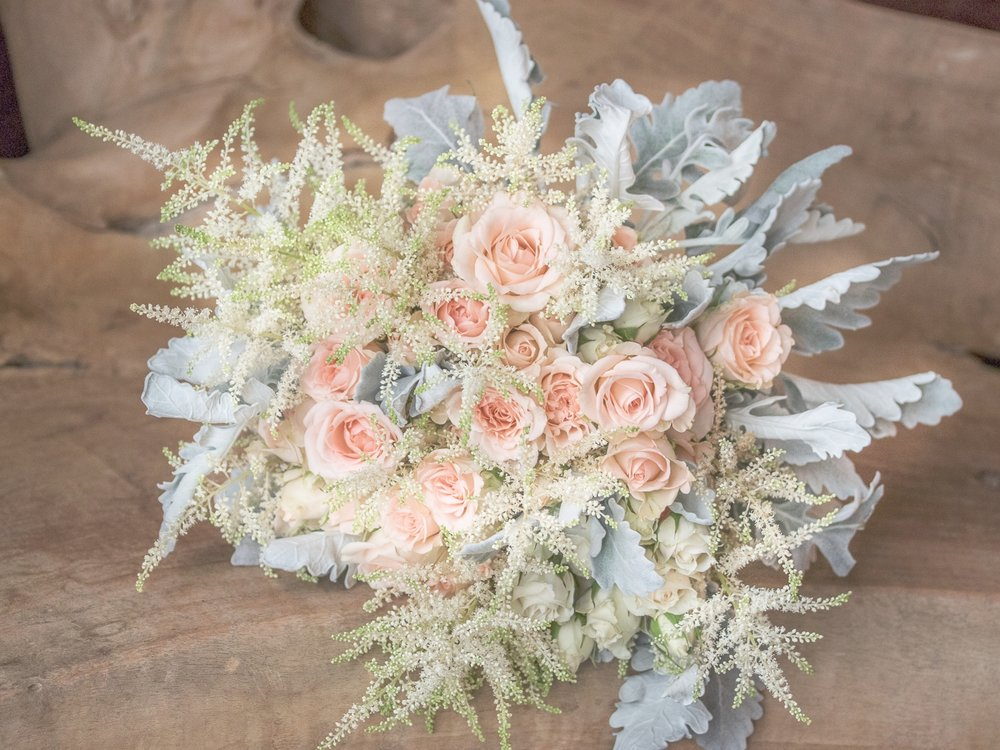 Bridal Bouquet with Dusty Miller, Astilbe, Spray Rose by Pebble and Branch Floral Design