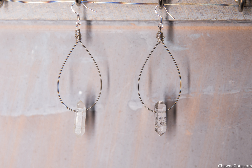Upcycled Guitar String Quartz Earrings