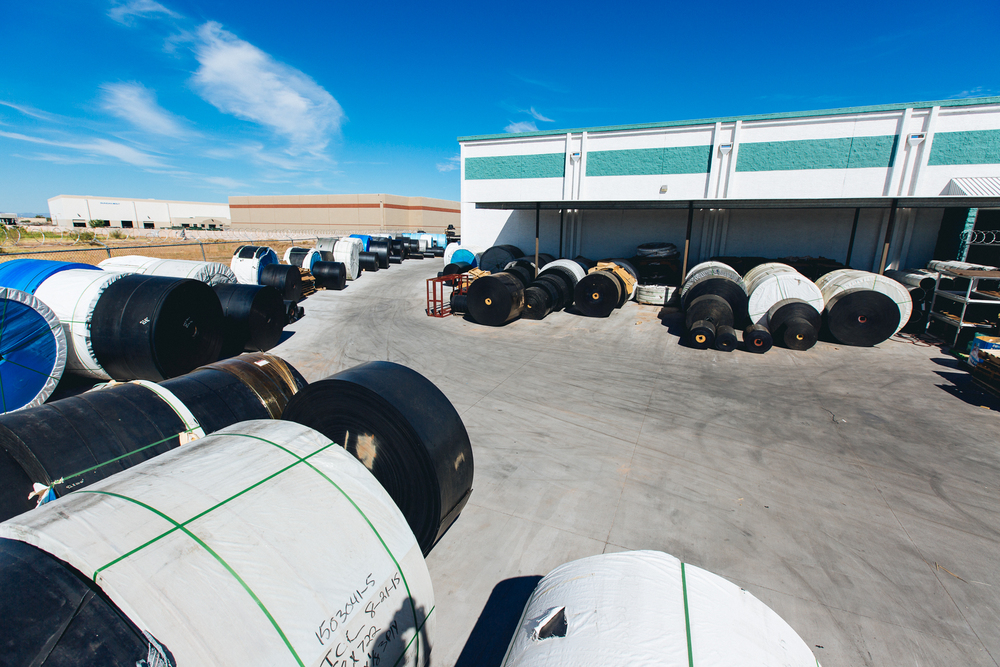 Conveyor belt reels on yard