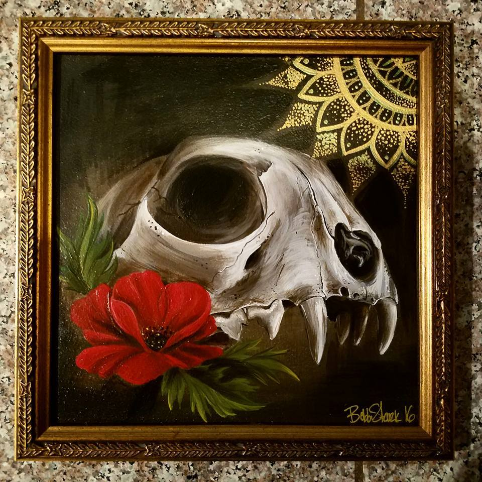 8 x 8 cat skull with frame