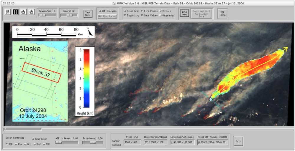 An example of MINX output for a smoke plume in Alaska during July 2004.
