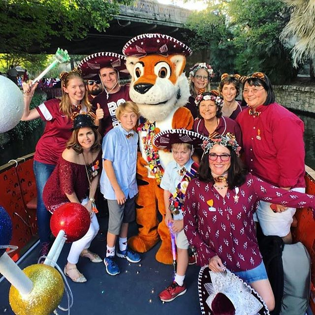 One half of our team joined our alma mater float for the Cavalier River Parade! Go Tigers! #trinityuniversity @trinityu #alumni