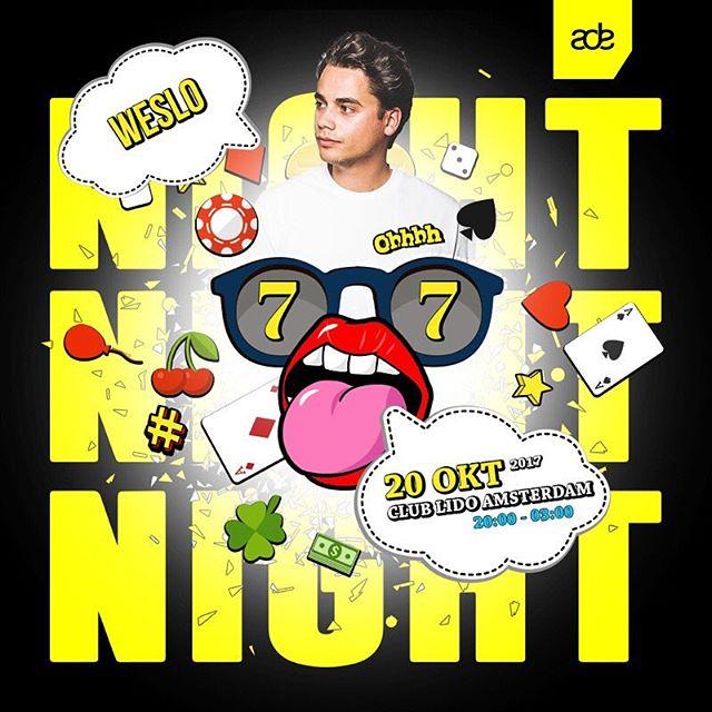 Kennen jullie @weslodj al? Mooi. Dan weet je dat je in vorm moet zijn want er worden dansjes gezet op HOOG niveau. Breng je bestie ❤️! #ade2017 #ADE #alkmaar #amsterdam #nightfeestje #weslo #hollandcasino #leidseplein #lidoamsterdam #weekend #party #lineup