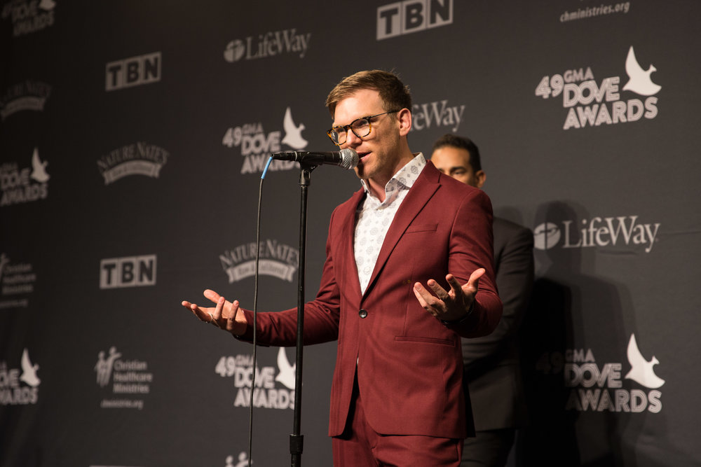 Rick Seibold speaks to the media at the 49th annual Dove Awards