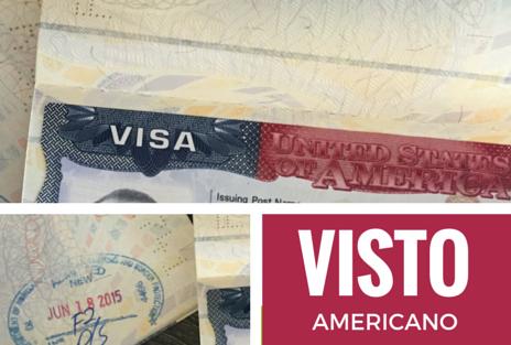 Imagem de um visto americano em passaporte brasileiro.