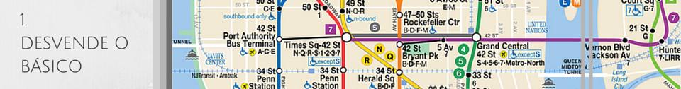 Imagem de um mapa do metrô de Nova York. Passo a passo para saber como andar de metrô.