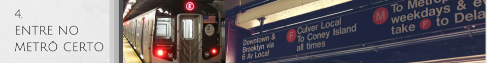 Imagem de um metrô de Nova York chegando na plataforma. Imagem de um letreiro de indicação das linhas que param em uma plataforma de metrô em Nova York.