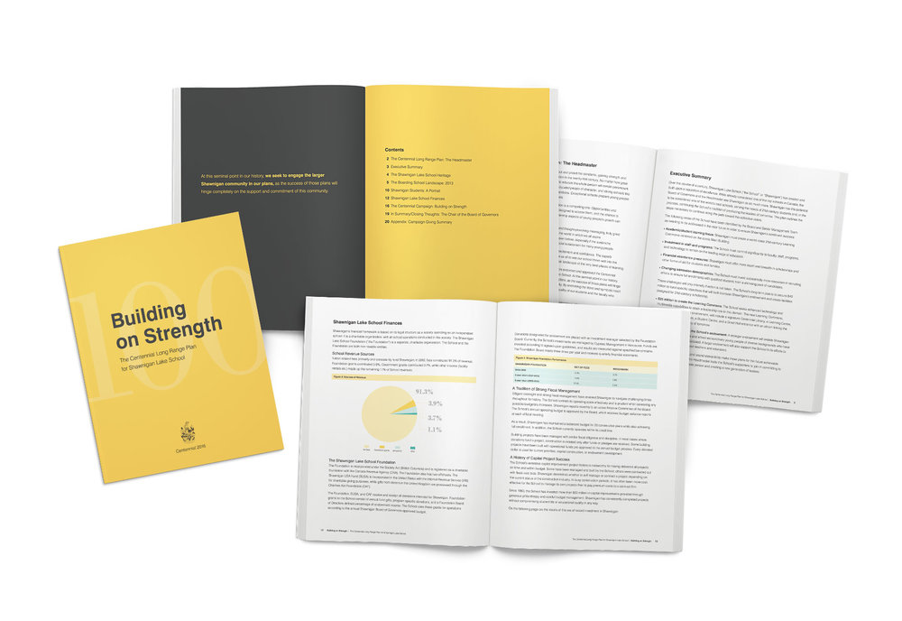 After writing the school's long-range plan, we created a 20-page booklet dedicated specifically to the plan. Within the booklet were details surrounding the global development campaign's statistical analysis and expenditures.