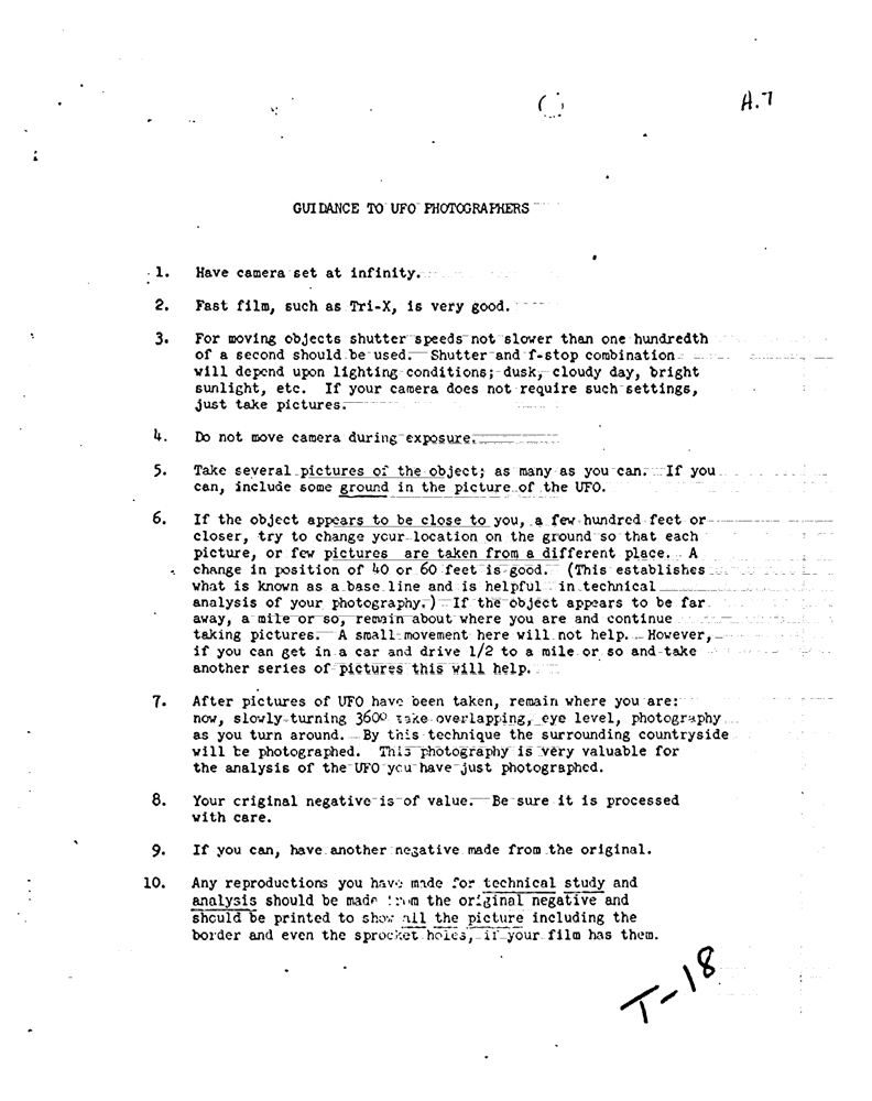 CIA Guidance to UFO Photographers