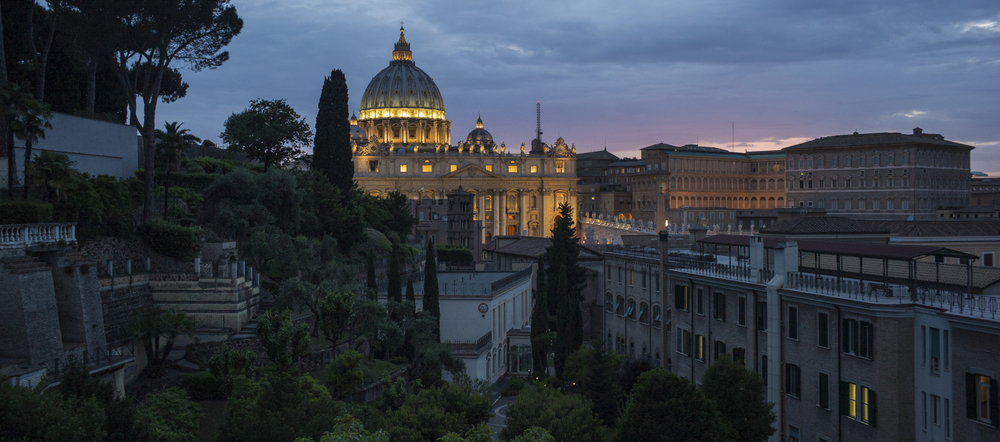 Rome: A view from the Jesuit headquarters overlooking St. Peter's Basillica.