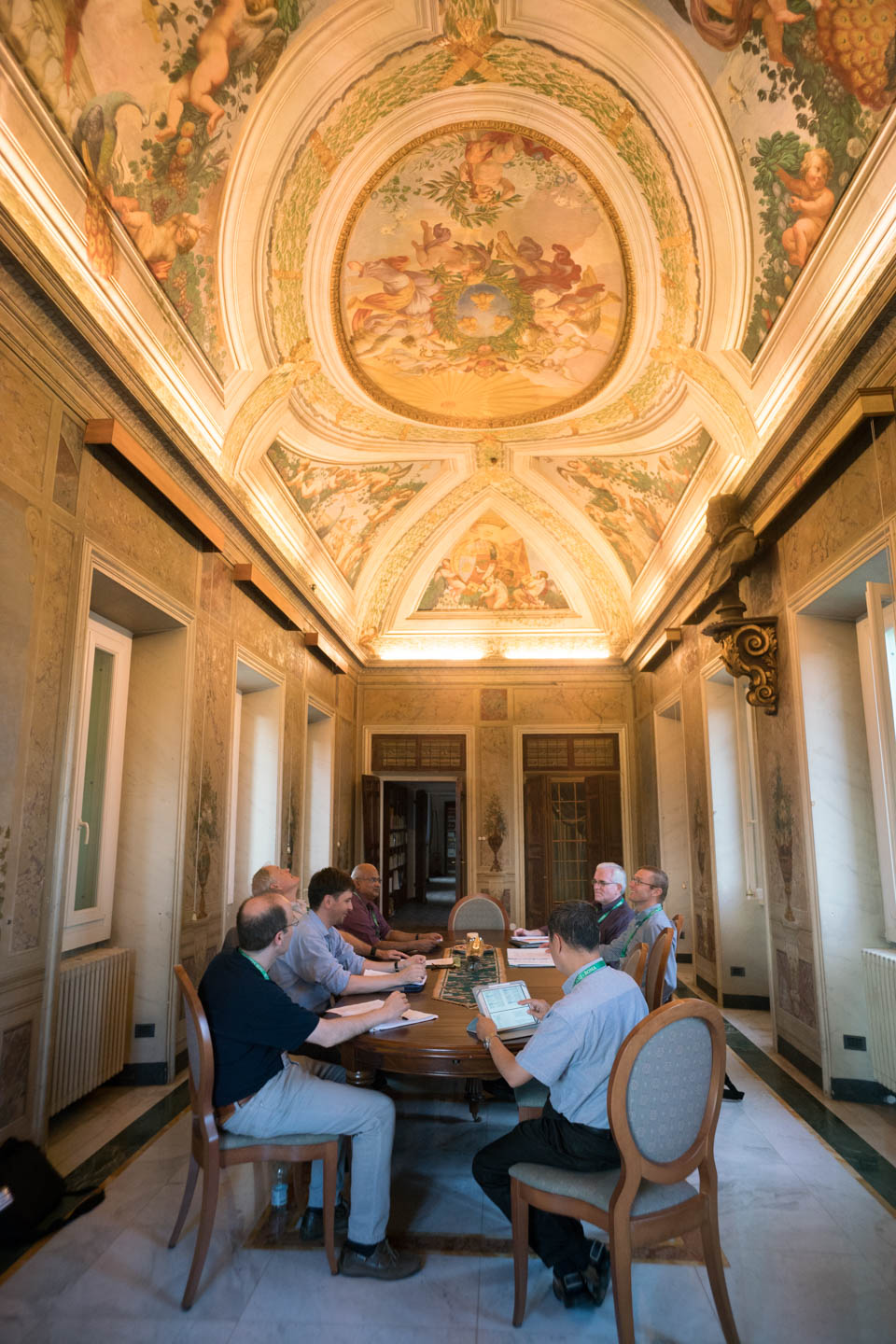 GC36 had 20 different groups working in various rooms around the Curia and the Canisio communities. This group met in the 16th century dining room of the Canisio Jesuit Community.