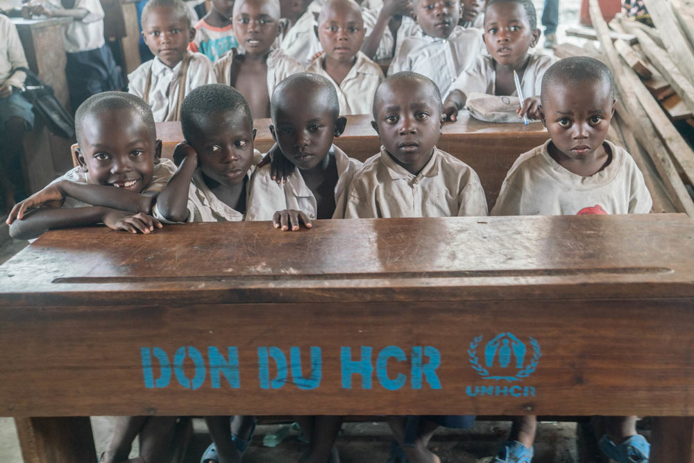 Outside of Goma, Congo, students study at a school built and supported by JRS