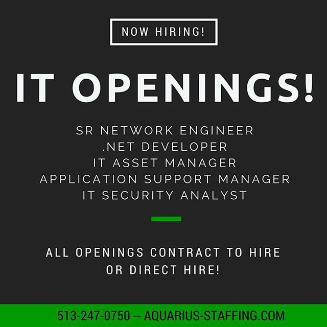 Big $$$ in IT!! #keepingupwithaquarius #jobs #job #nowhiring #hiringnow #cincinnati #cinci #jobsearch #talentsearch #staffing #jobseeker #jobseekers #recruitingnow #work #working #hardwork #recruiting #ohiostate #ohio