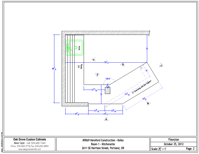 Cabinet Drawing and layout for a basement remodel