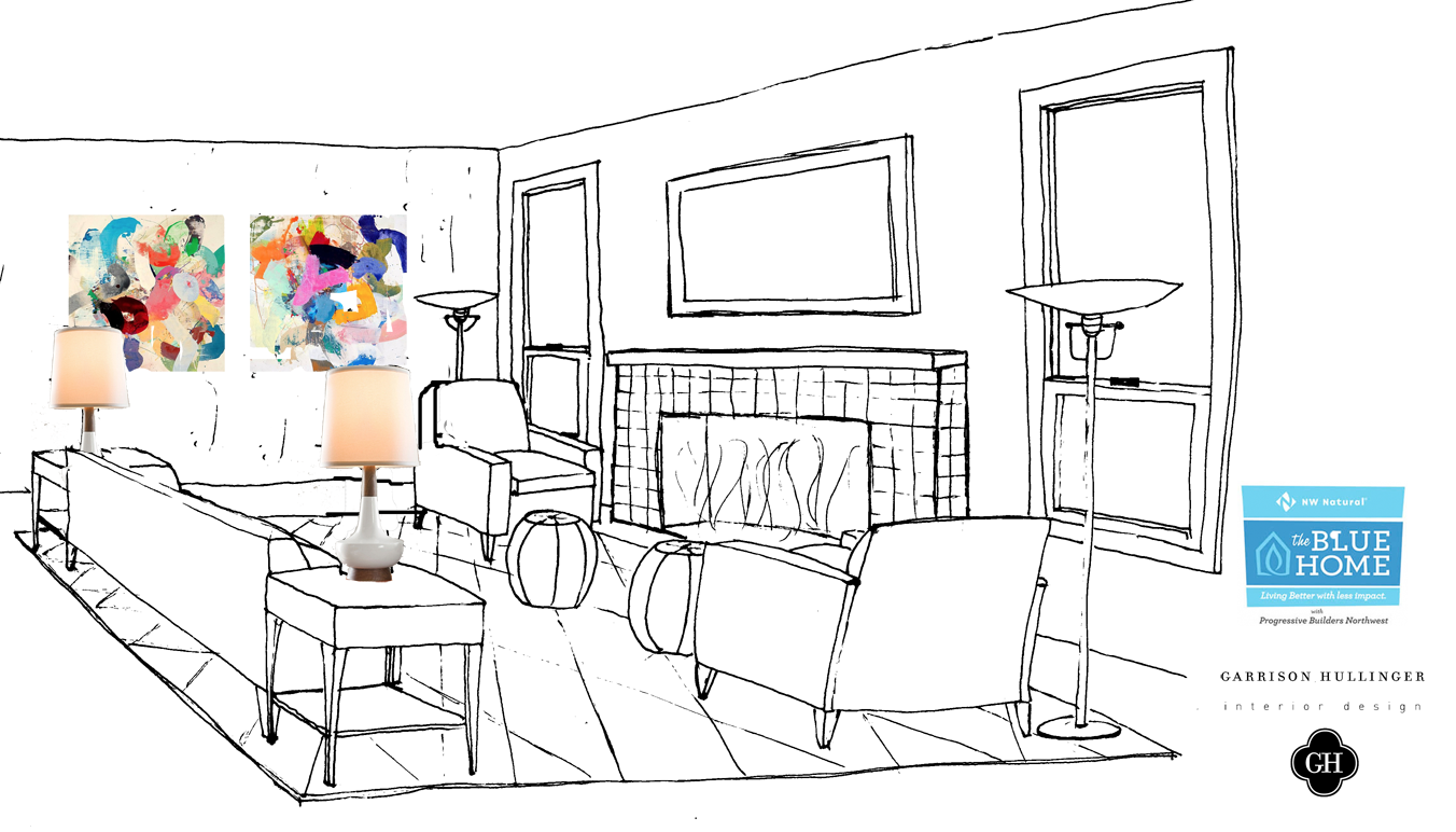 Drawing of a contemporary living room