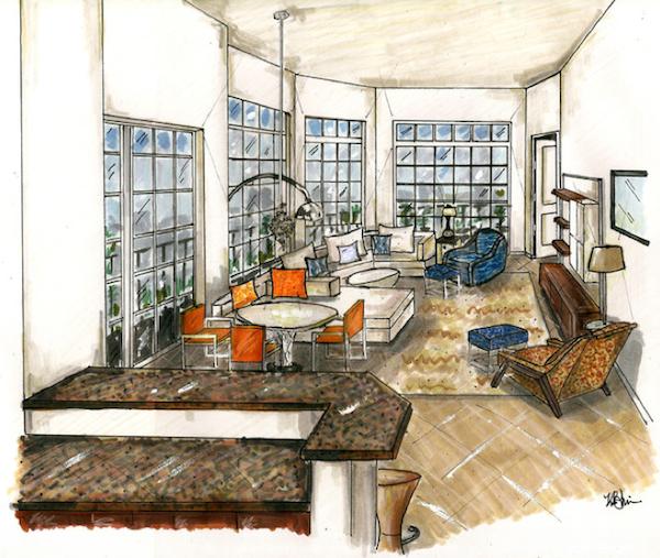 Image gallery interior design renderings for Interior designs drawings