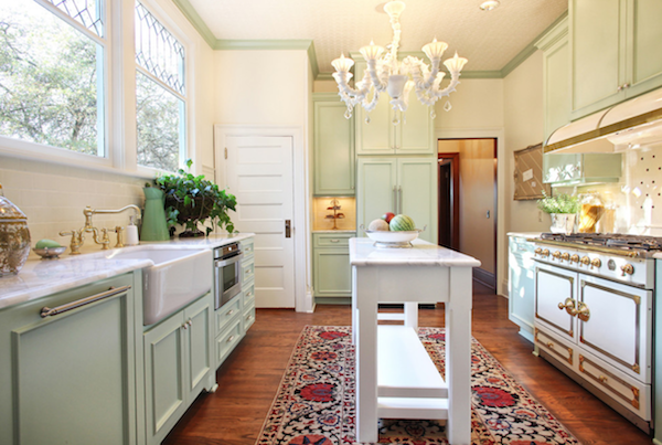 house of turquoise, kitchen, Garrison hullinger kitchen, farmhouse sink, mint cabinets, beautiful kitchen, thurman street kitchen, zillow kitchen, zillow garrison hullinger