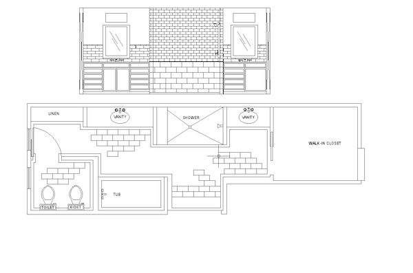 Garrison Hullinger Interior Design floor plan, Master bath floor plan, Garrison Hullinger client project