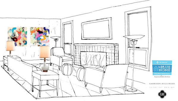 hand sketch of the blue home, garrison hullinger blue home, drawing of the blue home 2012