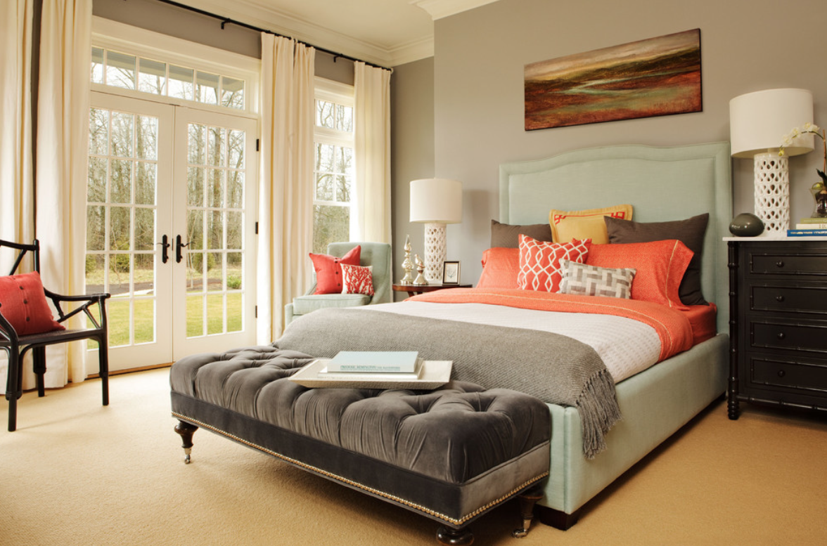light colored bedroom with pops of color, beautiful bedroom, spring time bedroom look