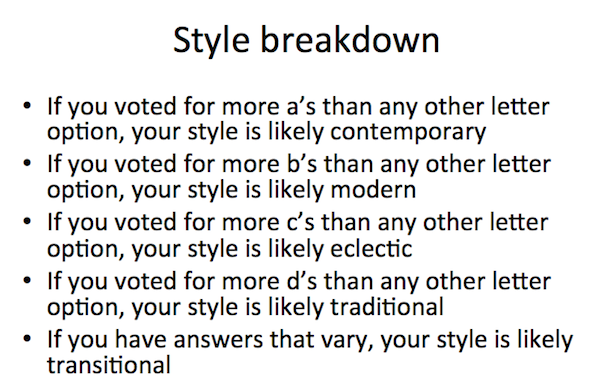 results from the style quiz, quiz that reveals your interior design style