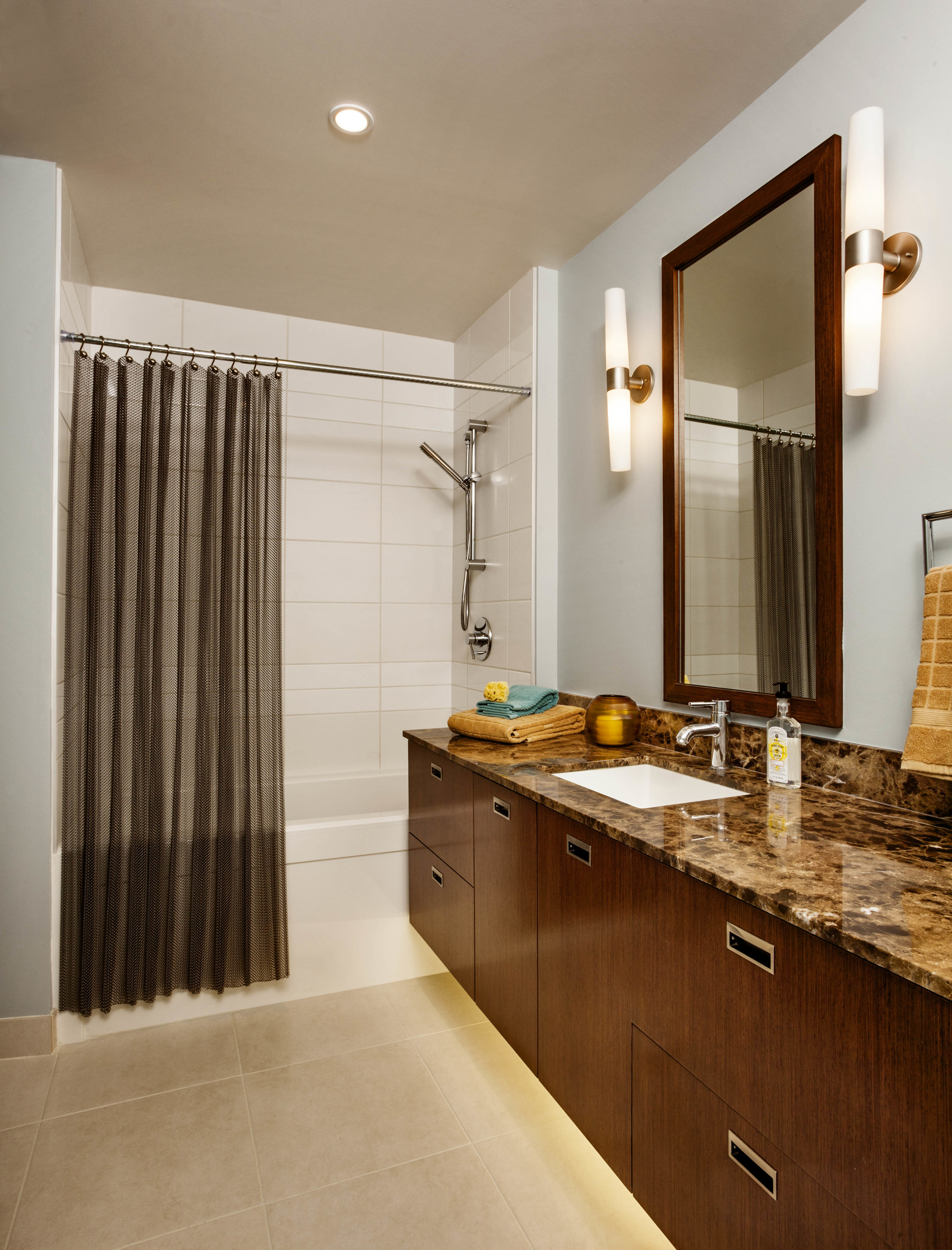 bathroom decor inspiration, quartz countertop, examples of upgrade packages for waterfront pearl