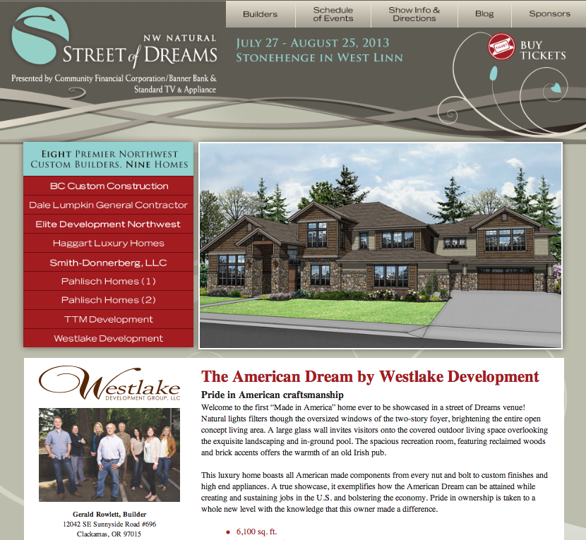visit the street of dreams home, best street of dreams home in 2013, made in america homes in Pacific NW