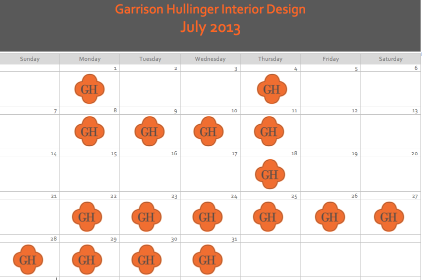 what interior designers calendars look like, what interior designers do on a monthly basis, what do interior designers
