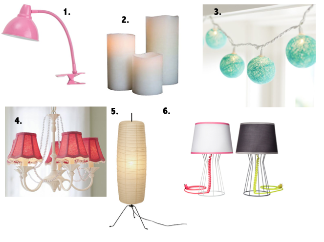 Stylish lighting for dorm, inexpensive lighting, lamps for apartment