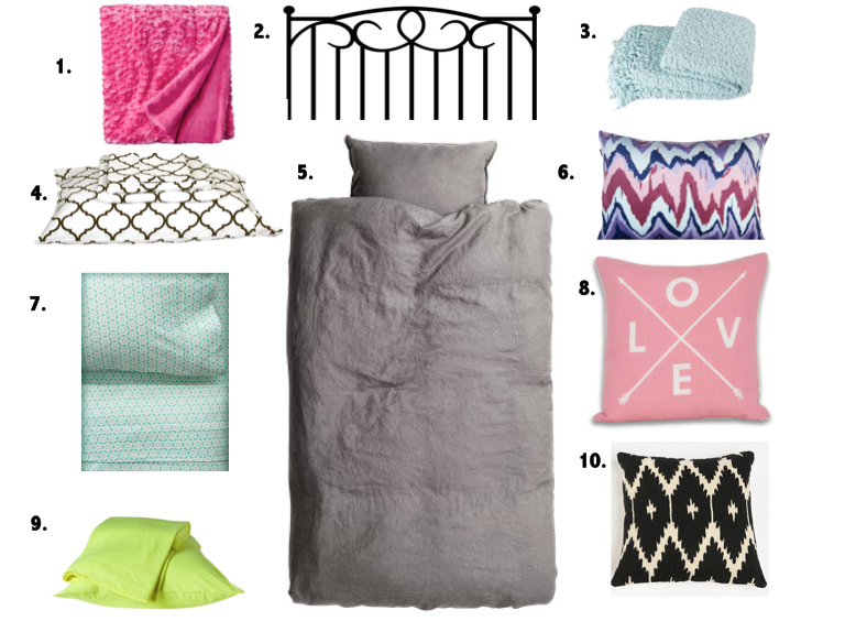 Mix and Match bed sheets, Dorm room bedding, patterned and colorful pillows