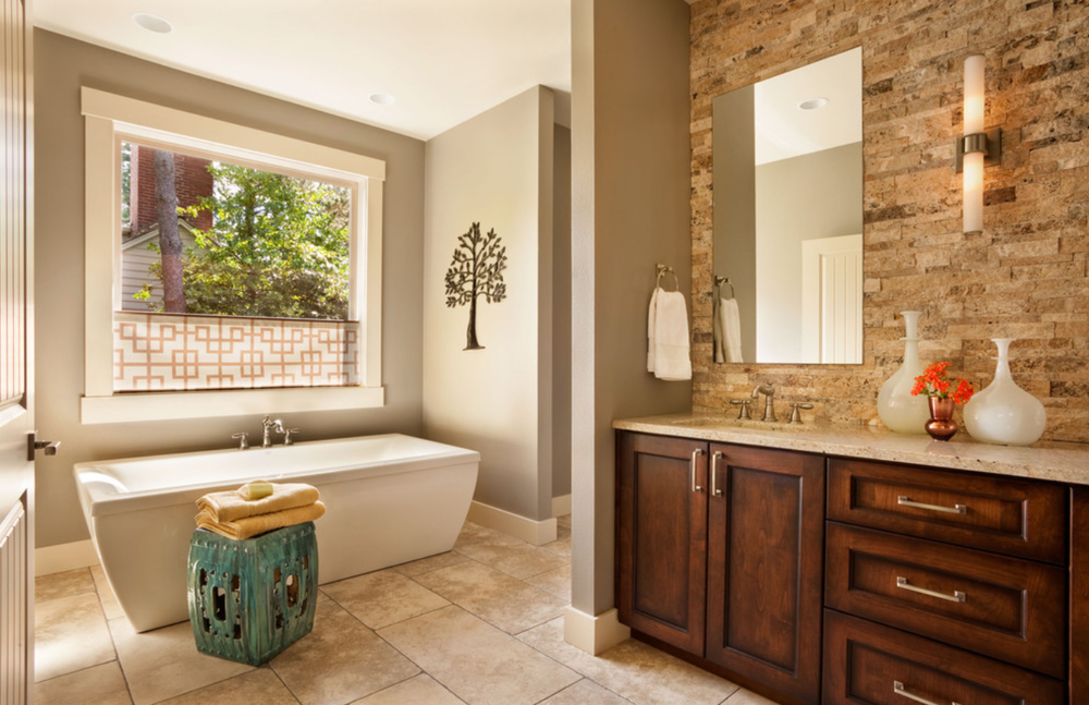 Natural Stones And Color Palettes Create A Calming, Spa Like Ambiance