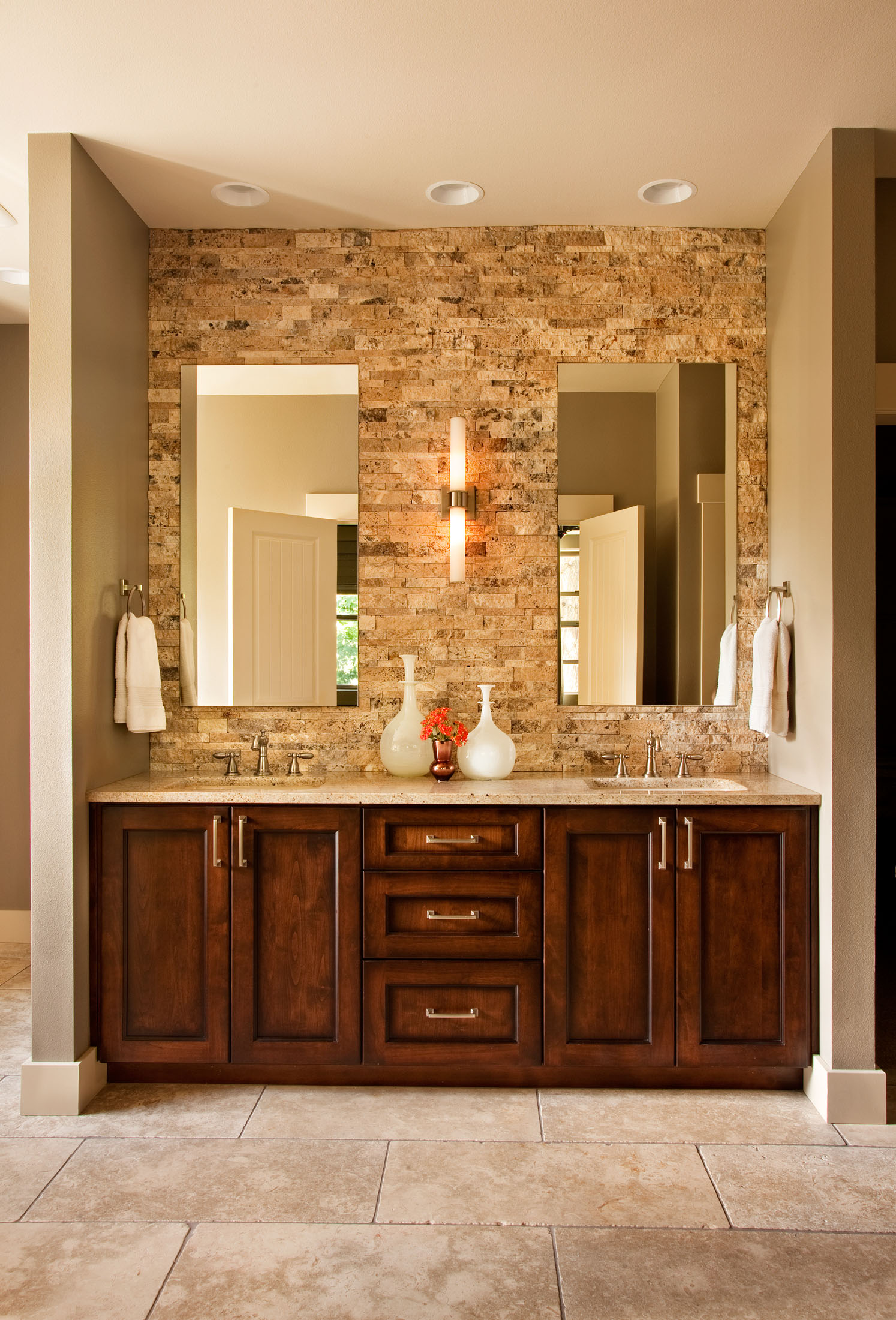 neutral bathroom ideas, natural stone used in bathrooms, double vanity bathroom ideas