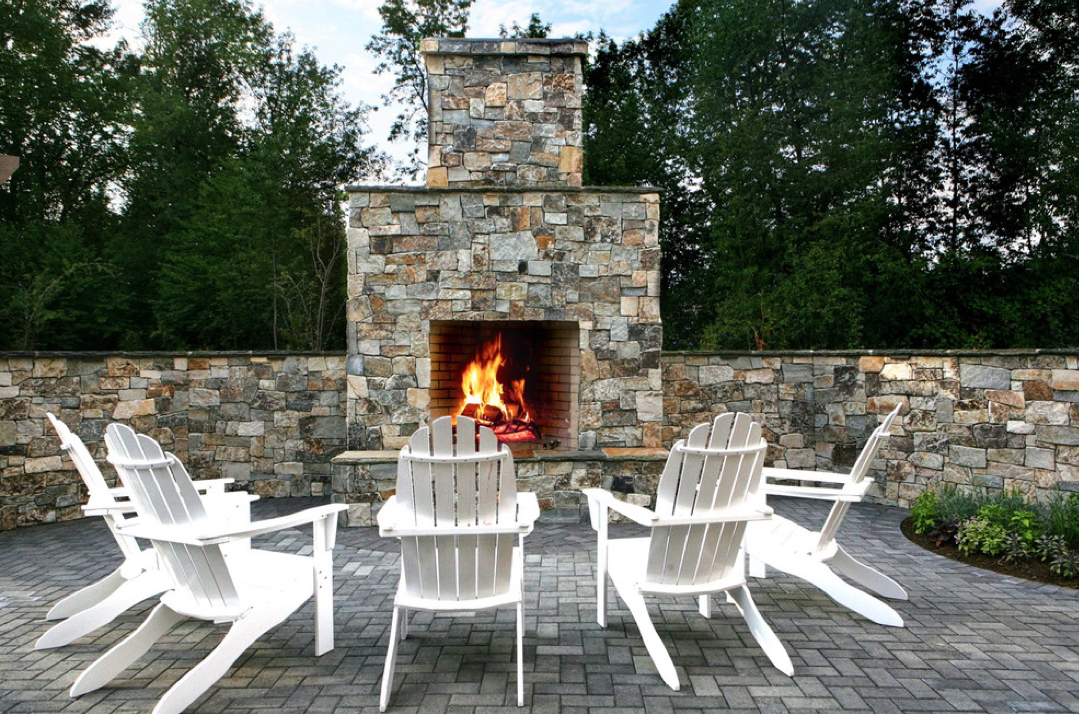 outdoor fire pit, outdoor patio, adirondack chair