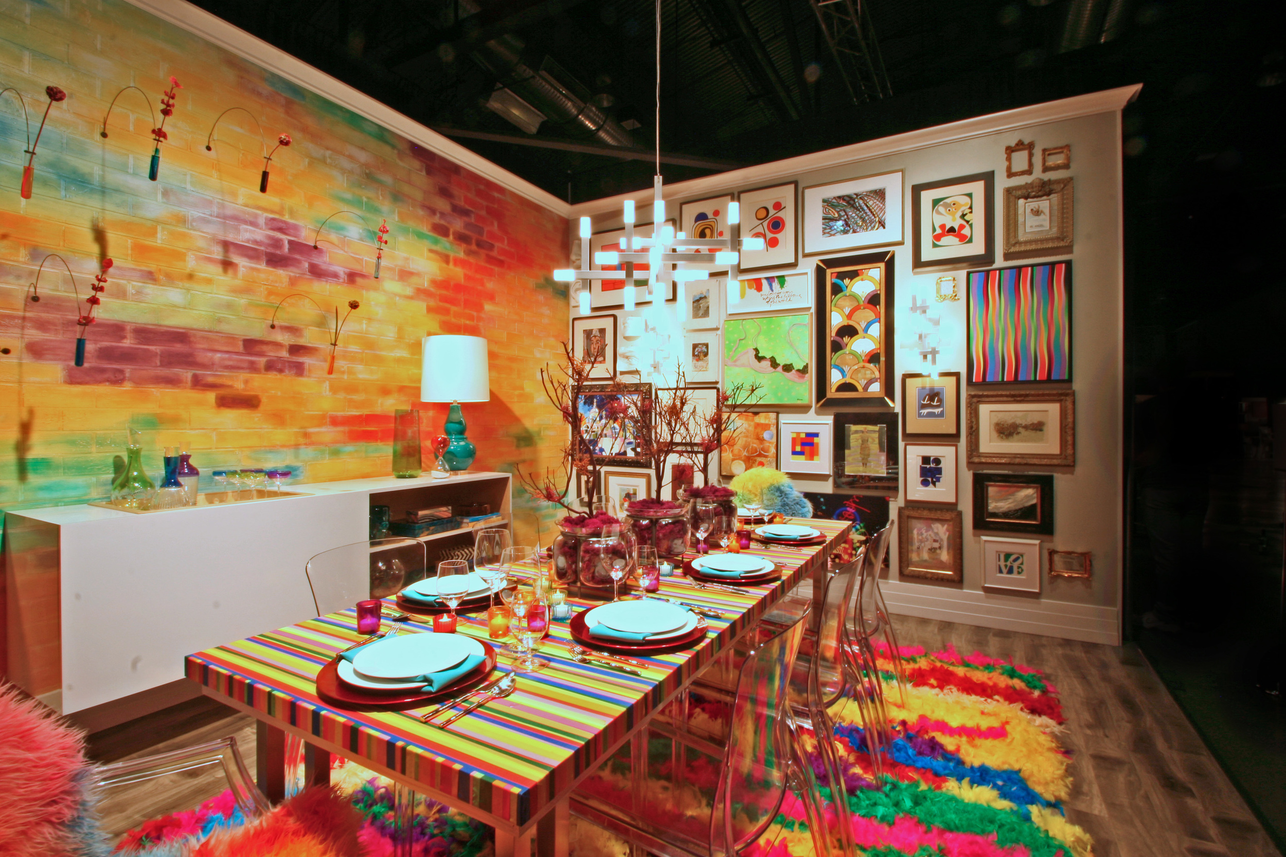 COLORbomb, rainbow colored rooms, bright interior decor