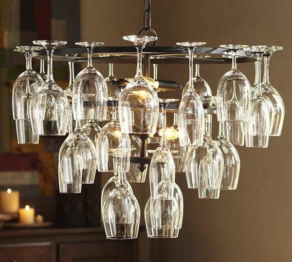pottery barn, cool lighting using wine glasses, glass chandelier