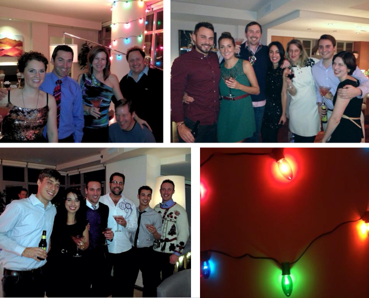 designers celebrate the holidays, holiday party photos, cute holiday photos