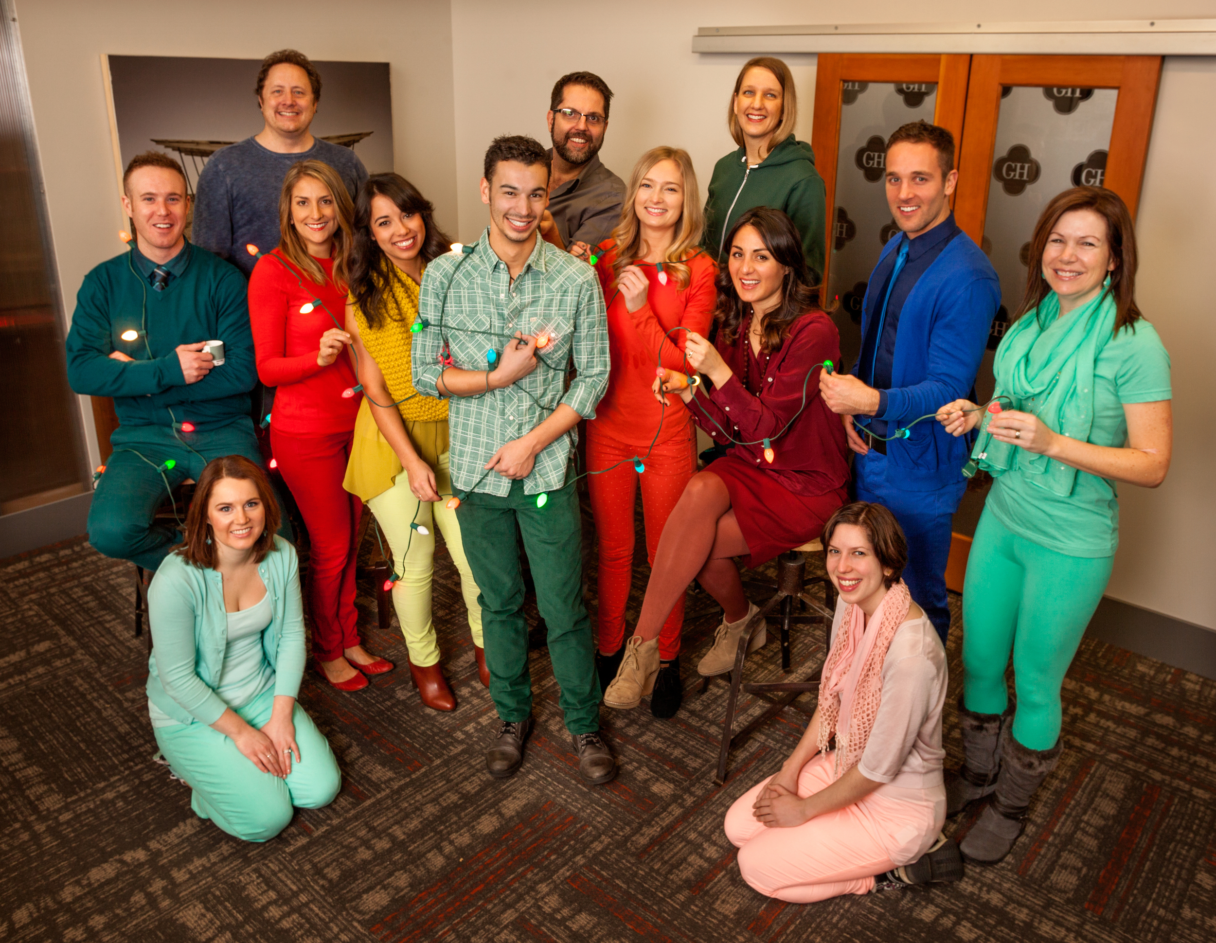 Garrison Hullinger Interior Design Dresses Up Like Pantone Colors For Holiday Photo
