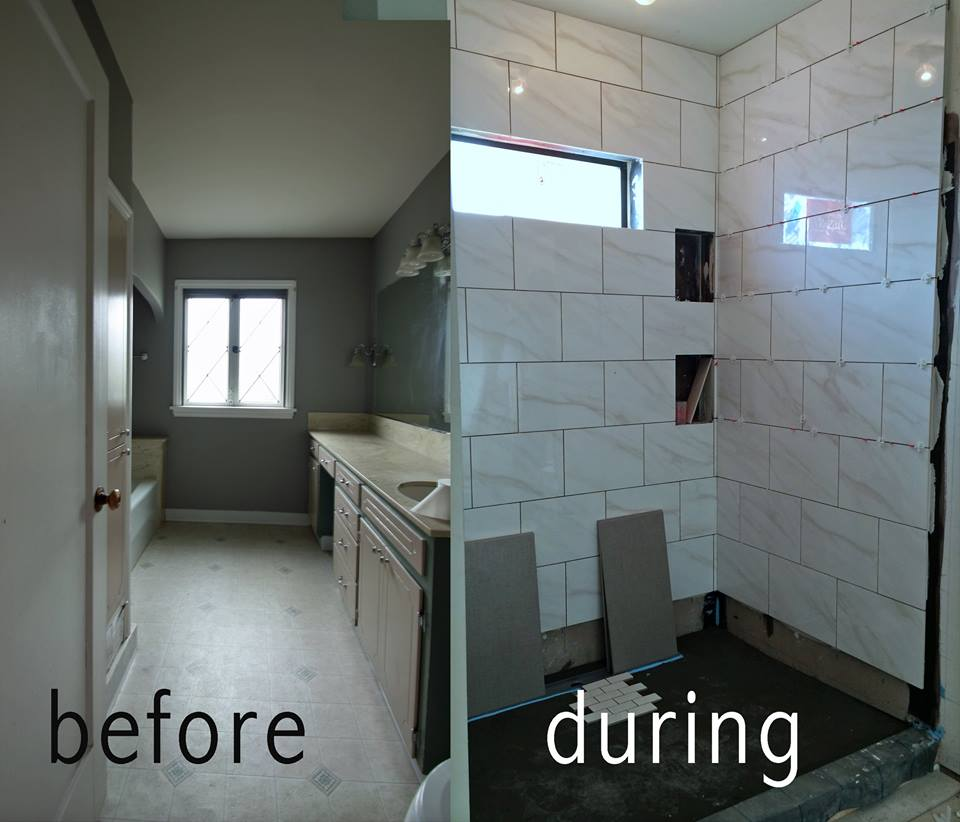 before and after photos of master bath, real before and after remodel pictures, home remodel progress photos