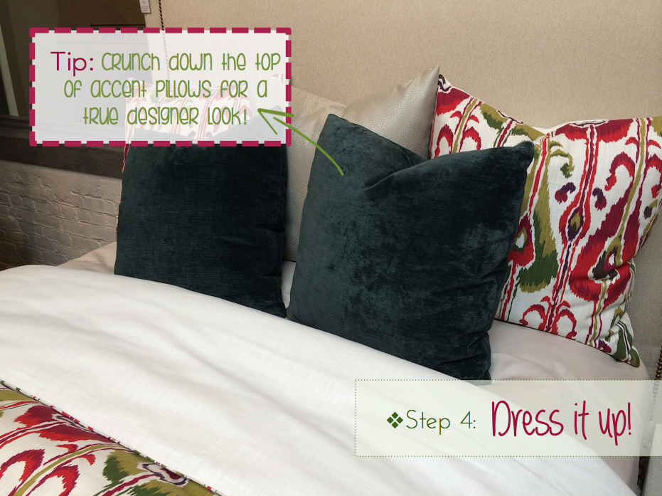 adding color to your room, accent pillows for your bed, designer details for your bed