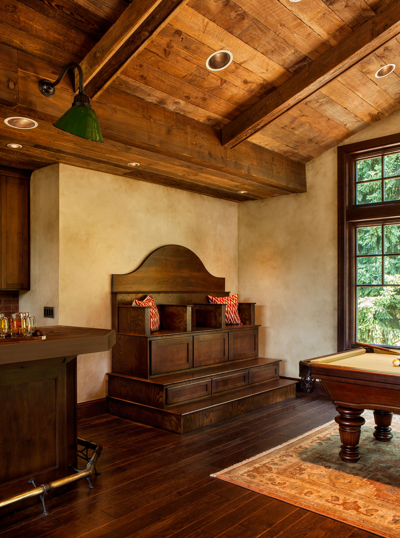 rustic billiards pool room, custom throne bench, built in custom seat